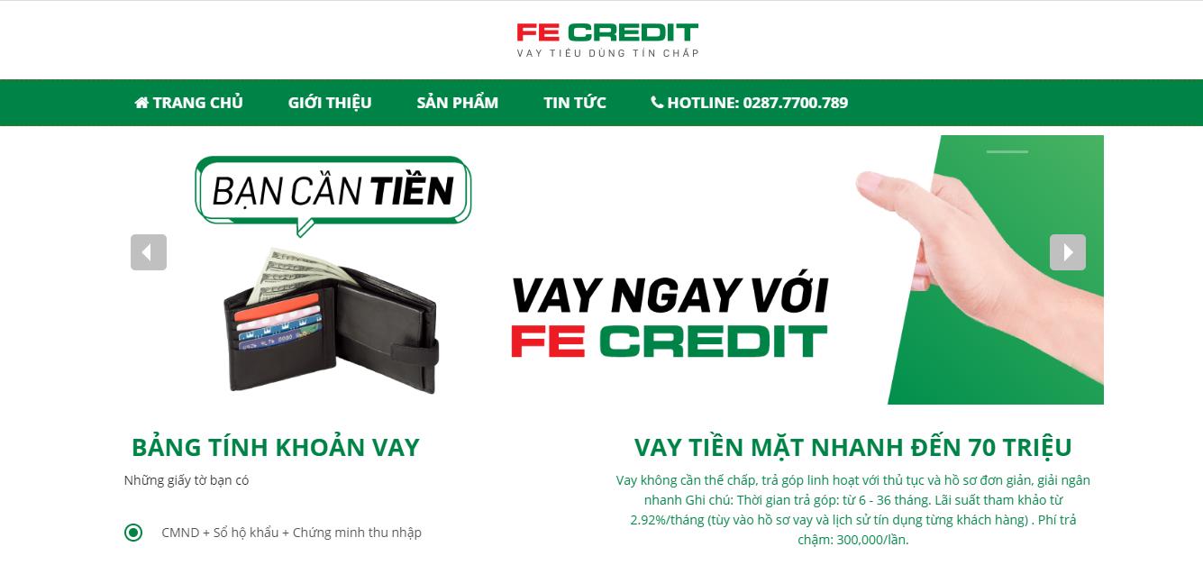 Hệ thống trang web chính của FE Creadit